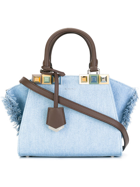 Fendi 3jours Denim Fringe Mini Shopper Bag In Ardesia