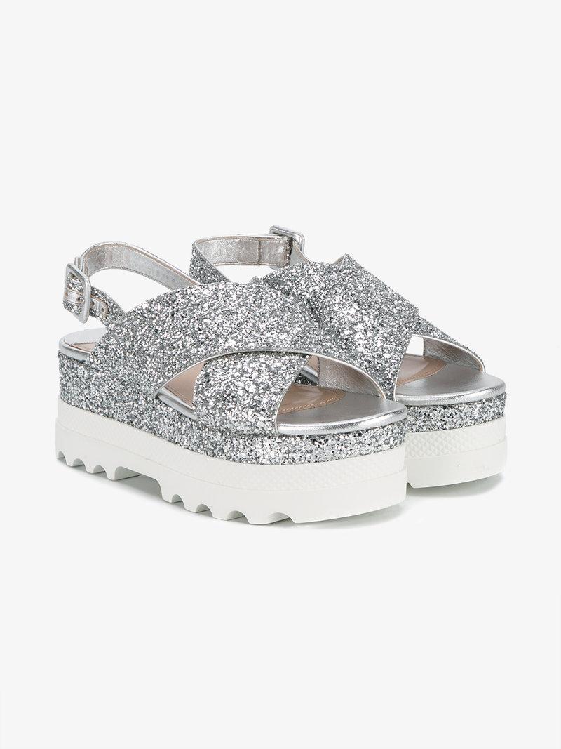 1048cebeb3a Miu Miu Glitter Crisscross Platform Slingback Sandals In Argeeto ...
