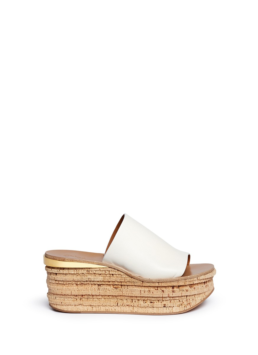 adfc63c41379 ChloÉ  Camille  Cork Wedge Leather Slide Sandals In White