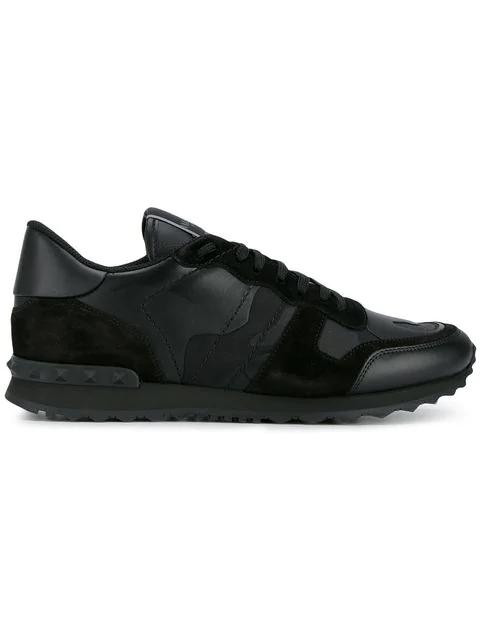 Valentino Garavani Garavani Rockrunner Camouflage-print Sneakers In Black