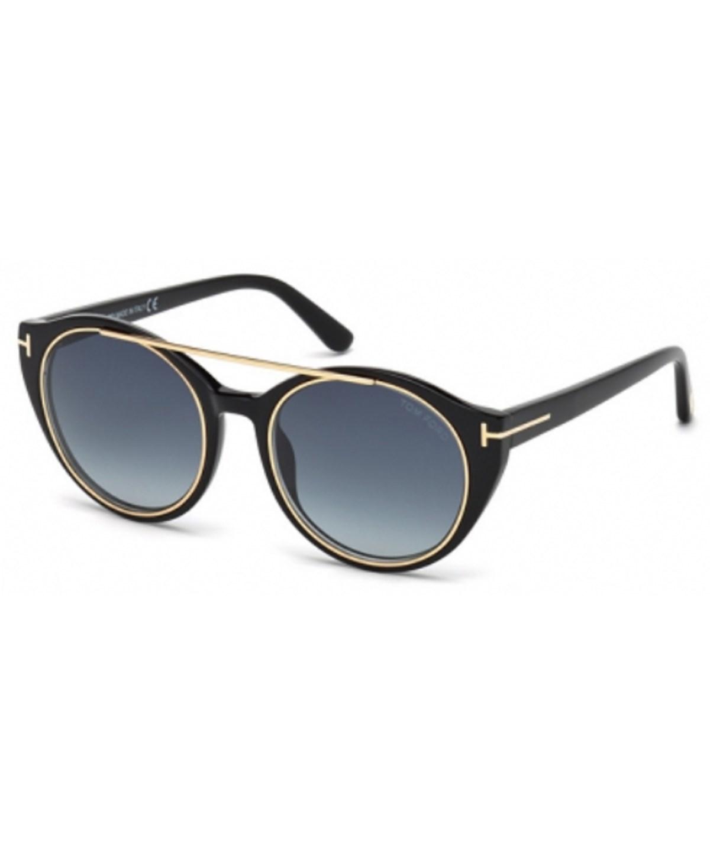 Tom Ford Ft0383/s 01w Joan Black  Aviator Sunglasses In Shiny Black/blue Gradient
