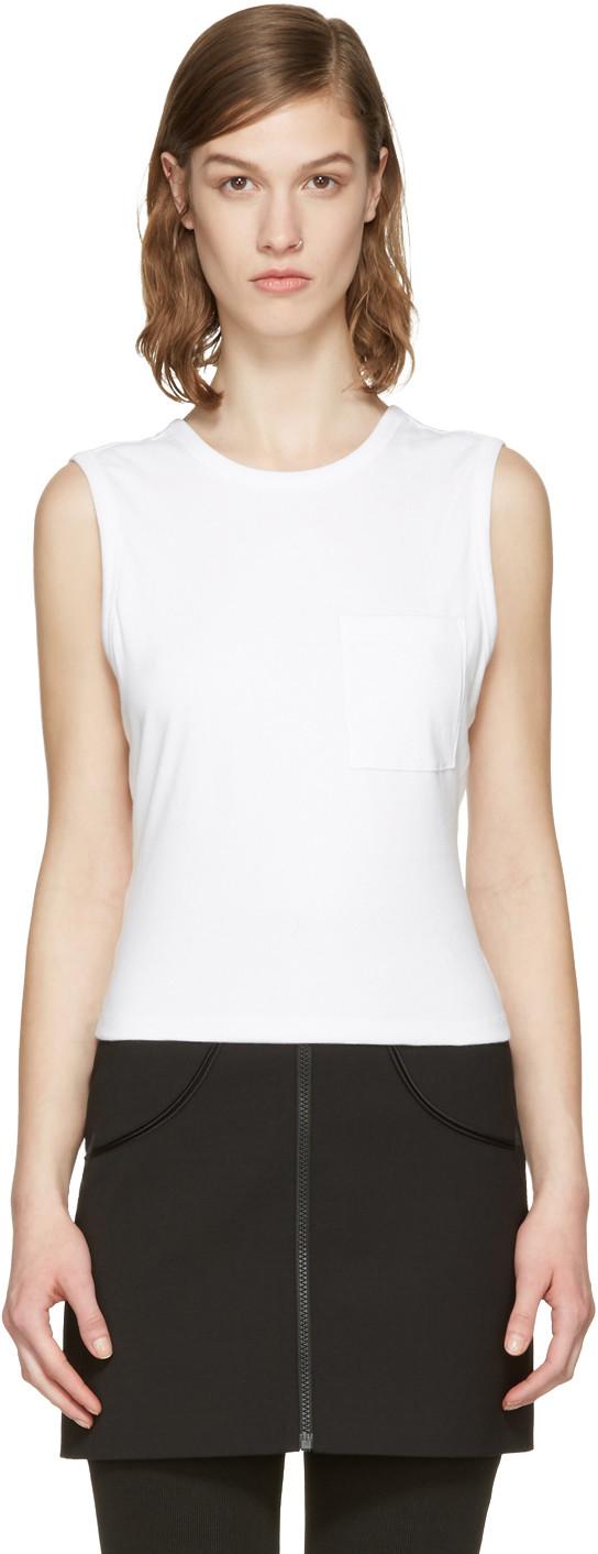Alexander Wang T Cotton Jersey Open Back Twist Tank Top In White