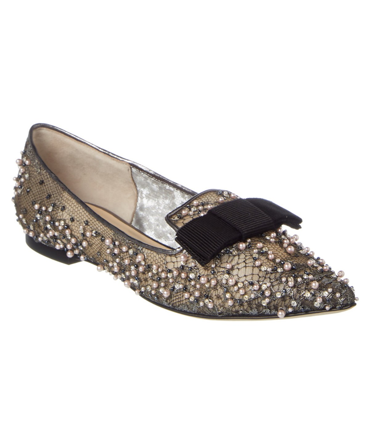 Jimmy Choo Gala Anthracite Lace Crystal And Pearl Embellished Pointy Toe Flats With Bow Detail