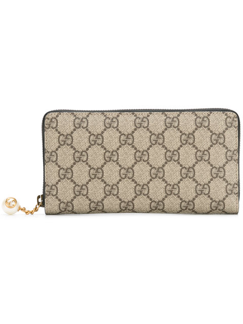 Gucci Gg Supreme Zip Around Wallet, Taupe/brown In Grey