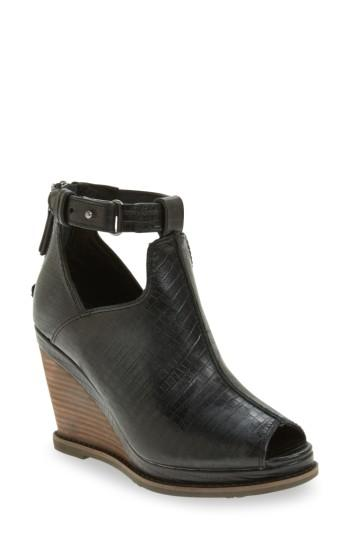 Ariat Backstage Wedge Bootie In Black Leather