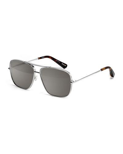 a026163db8 Elizabeth And James Deacon Square Aviator Sunglasses In Silver Smoke Mono