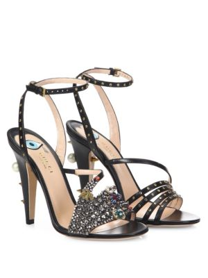 10f47e964b5d Gucci Wangy Crystal Hand Strappy High Heel Sandals In Black