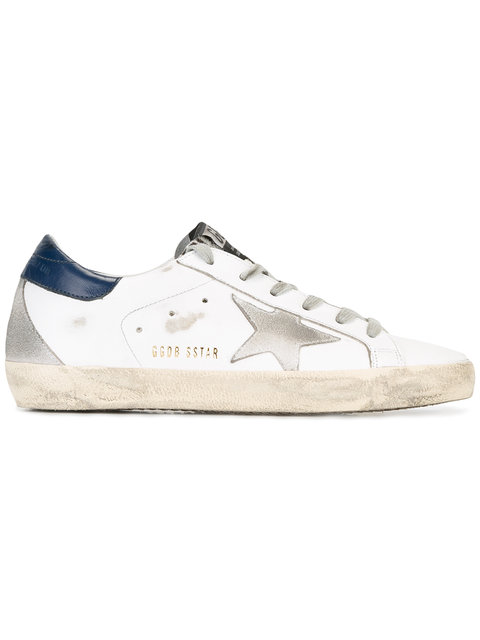 Golden Goose White & Navy Distressed Superstar Sneakers In White & Black & Cream