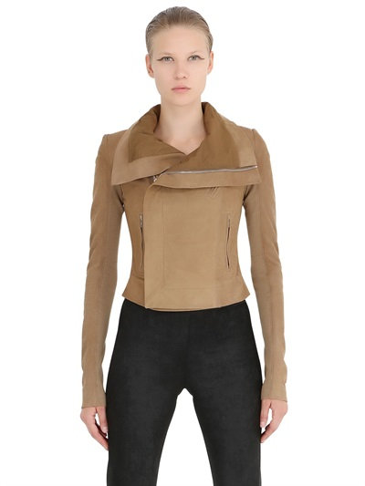 Rick Owens Classic Suede Moto Jacket In Brown