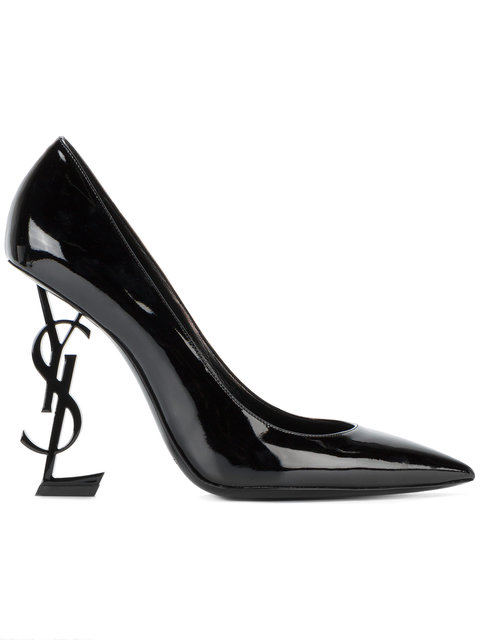 Saint Laurent Women's Opyum Interlocking Logo Patent Pumps In Black