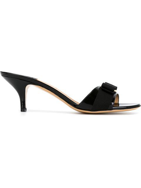 Salvatore Ferragamo Glory Open Toe Slide Kitten Heel Sandals In Nero