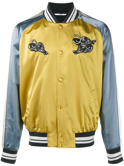 Valentino Panther AppliquÉ Bomber Jacket In Ochre