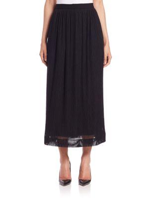 Tamara Mellon Sheer-stripe Midi Skirt In Black