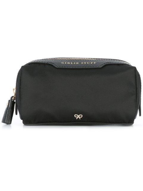 Anya Hindmarch Make Up Small Leather-trimmed Shell Cosmetics Case In Black