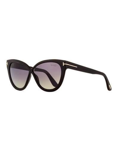 3d24ad4ac64e8 Tom Ford Reveka 59Mm Gradient Cat Eye Sunglasess - Black  Rose Gold  Silver  Flash