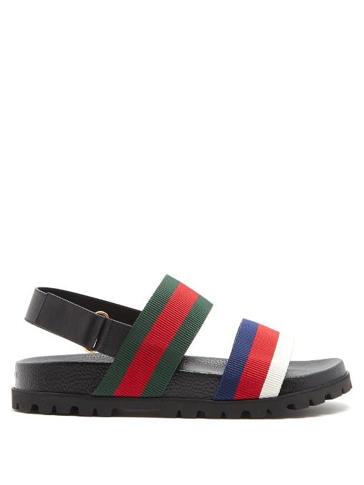 a1634d495beb17 Gucci Rimini Striped Sandals In Black Leather