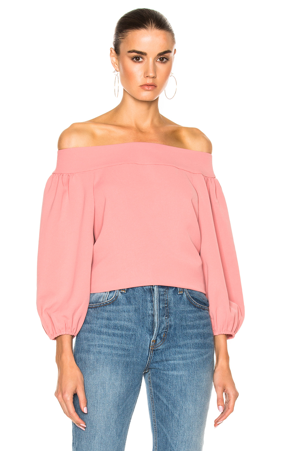 1cc7e0223f3d1 Tibi Draped Twill Off-The-Shoulder Top In Pitaya Pink