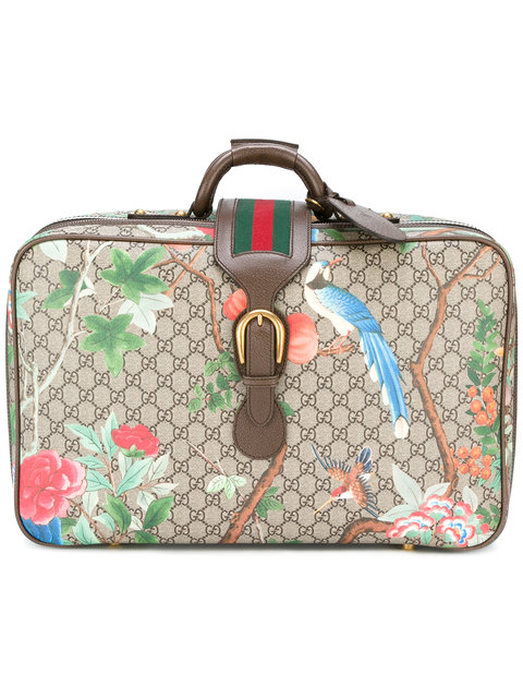 Gucci Tian Gg Supreme Suitcase In Brown