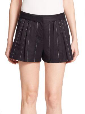 Rag & Bone Pico Pleated Striped Shorts In Navy