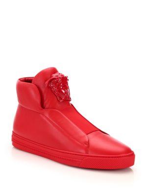 Versace Idol Tonal Pallazo Leather High-top Sneakers In D6g