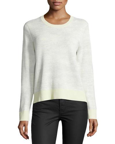 Jason Wu Long-sleeve Abstract-striped Pullover, Chalk/light Celadon, Chalk / Lt Celado