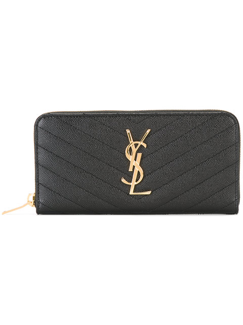 Saint Laurent Black Quilted Monogram Zip Around Wallet In 1000 Black