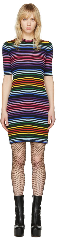 Marc Jacobs Stripe Core Cotton Short-sleeve Dress In Black Multi