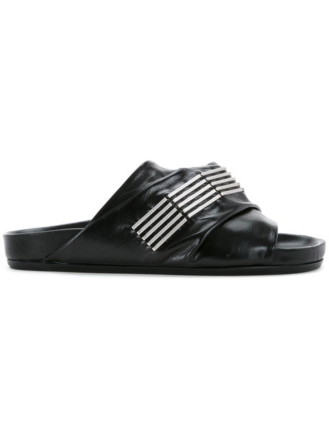 Rick Owens Leather Sandals In Black