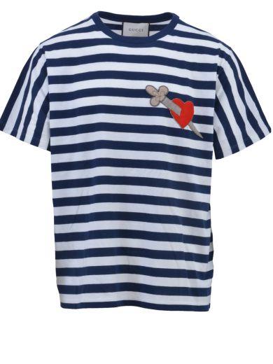 ea0c525c Gucci AppliquÉD Striped Cotton-Jersey T-Shirt In Navy   ModeSens
