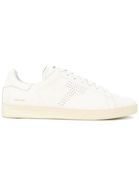 Tom Ford Warwick Perforated Full-grain Leather Sneakers In White