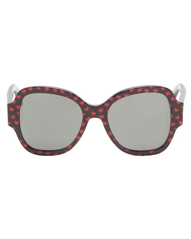 Saint Laurent Heart Pattern Sunglasses In Red