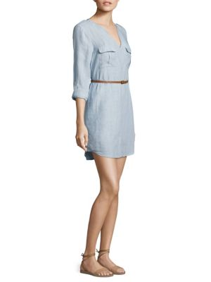 Joie Rathana Belted Military Shirt Dress In Light Washed Chambray