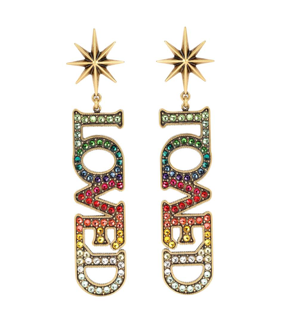 bcfdbff681e Gucci Loved Pendant Earrings With Crystals In Multicolour
