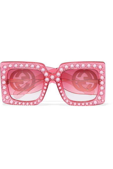 0514a47cd5 Gucci Oversize Square-Frame Acetate Sunglasses With Crystals In Pink ...