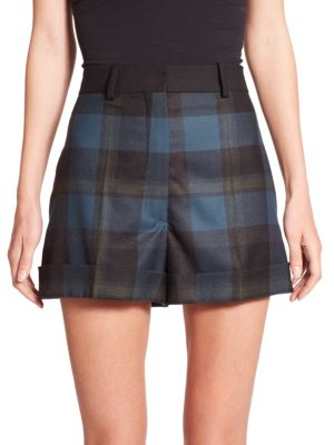 Sonia Rykiel Check Wool Shorts In Blue-multi