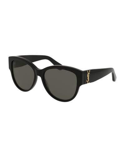 b70bcb42d1b36 Saint Laurent Sl M3 002 Black Acetate Round Frame Women s Sunglasses In  Black   Grey