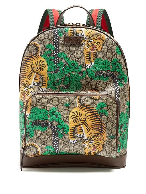 4cedd1c6fa01ea Gucci Men S Bengal Tiger Print Gg Supreme Backpack In Brown In Bengal Print