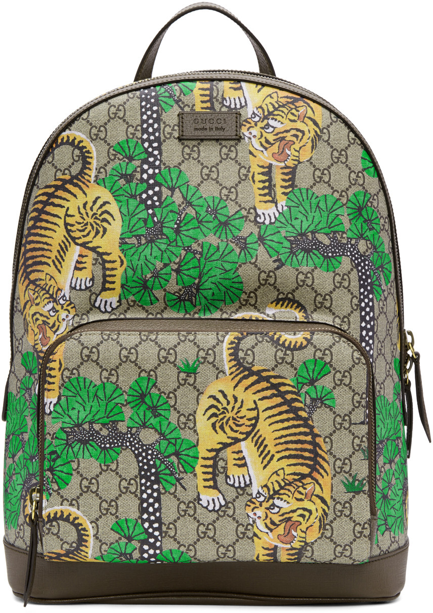 7aa35f9d47c Gucci Men S Bengal Tiger Print Gg Supreme Backpack In Brown In Bengal Print