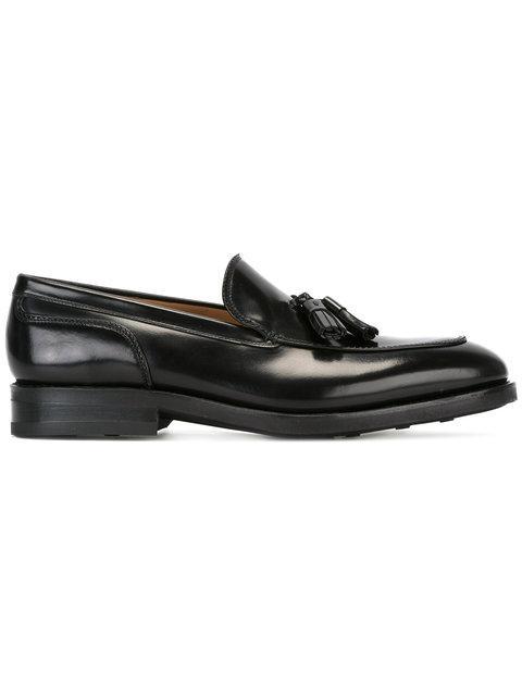 Salvatore Ferragamo Black Leather Tassel Detail Boat Stitch Loafers