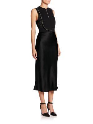 Alexander Wang Bias-cut Studded Combo Dress In Black