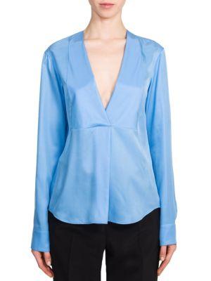 Jil Sander Via Silk Blouse In Pastel Blue