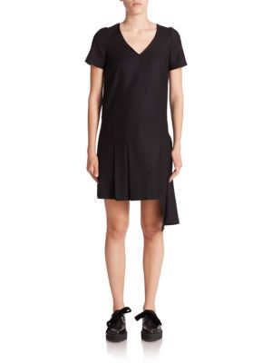 Marc Jacobs Asymmetrical Stretch-wool Shift Dress In Black