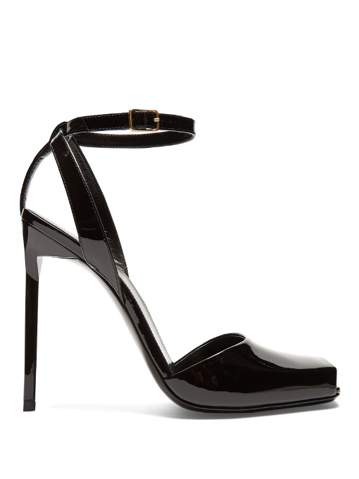 a370e4240ee1 Saint Laurent Edie 110 Peep Toe Sandal In Black Patent Leather ...
