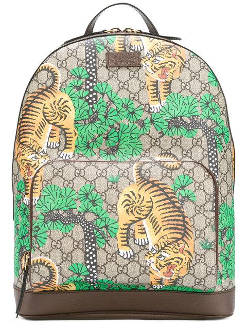 0562548c1927 Gucci Men's Bengal Tiger Print Gg Supreme Backpack In Brown In Bengal Print