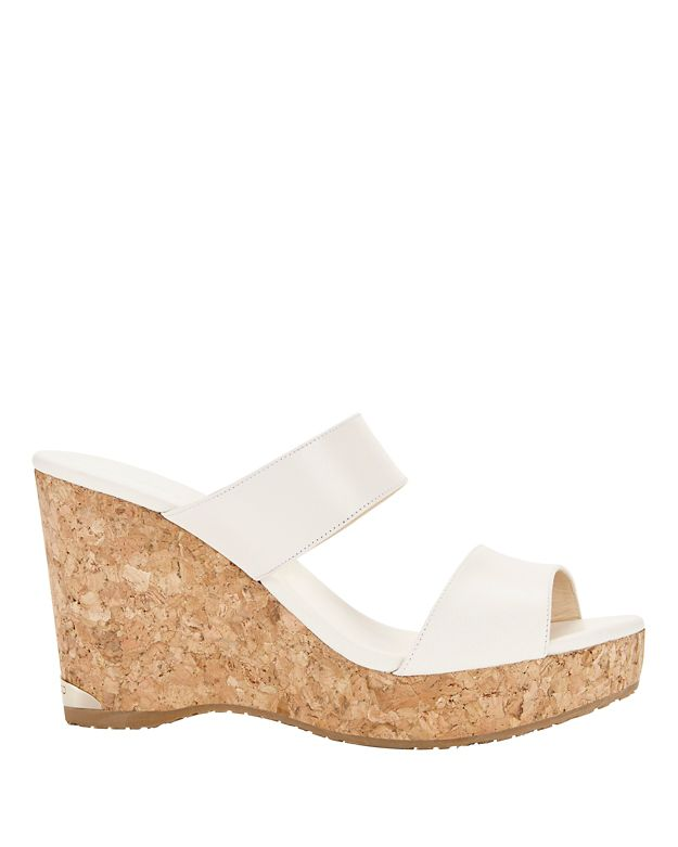 e19a6755131f Jimmy Choo Parker Two-Band Cork Wedge Sandal In White