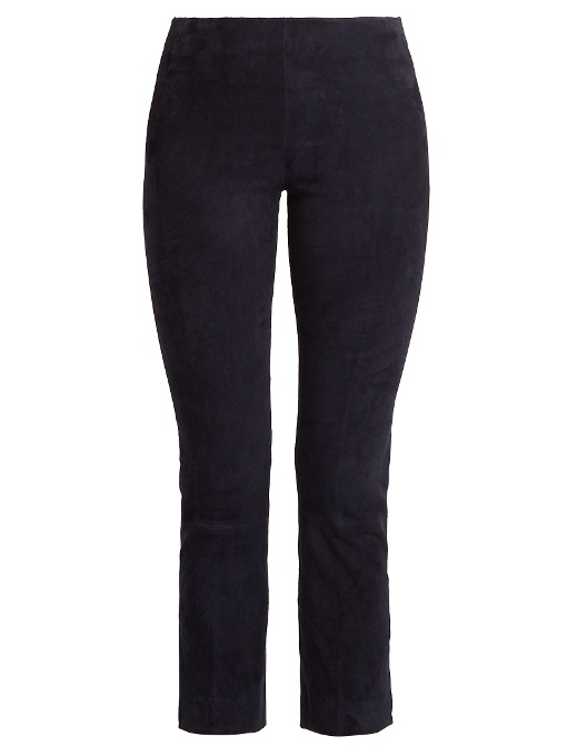 Vince Slim-leg Stretch-suede Trousers In Coastal Blue