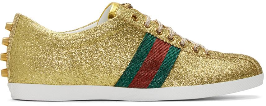 f464bdbb4 Gucci Bambi Web Gold Stud Low-Top Sneakers | ModeSens