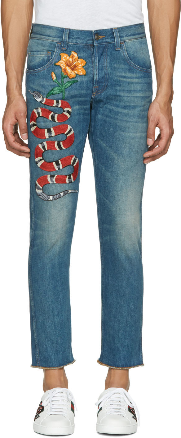 Gucci Snake Embroidered Slim-fit Jeans In Stonewashed-blue