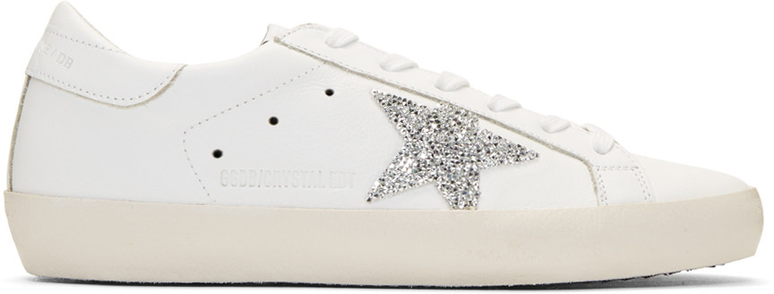 66db99b7398f Golden Goose Super Star Swarovski Crystal-Embellished Leather Sneakers In  White