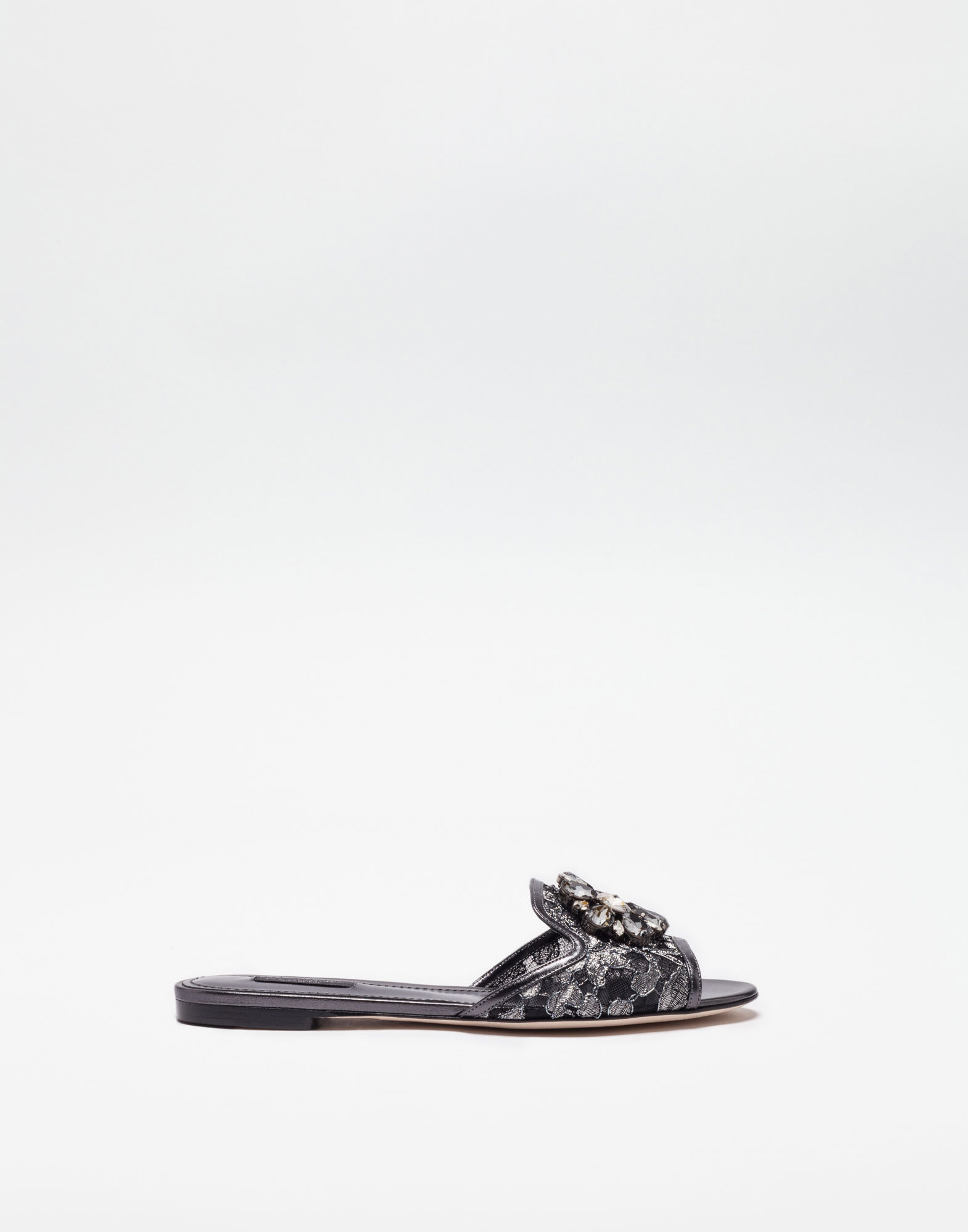 Dolce & Gabbana Embellished Corded Lace And Lizard-effect Leather Slides In Black